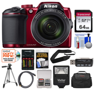 this is an image of a nikon camera with accessories bundle