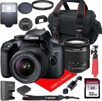 This is an image of a EOS 4000D Canon camera with accessory kit.