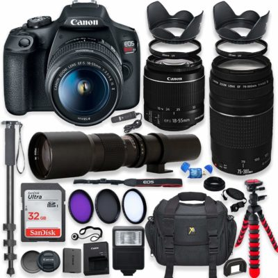 This is an image of a EOS Rebel T7 Canon camera bundle kit.