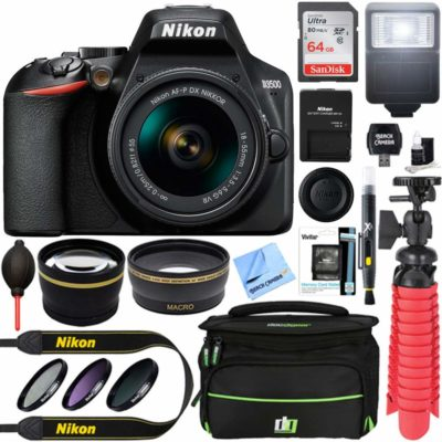 This is an image of a Nikon D3500 camera with accessory kit.
