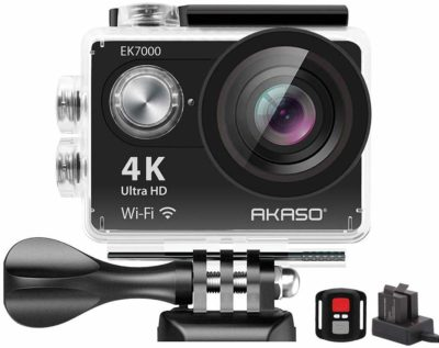 This is an image of a black EK700 action camera by AKASO for kids.