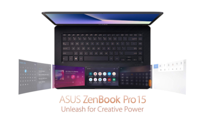 """This is an image of a 15.6"""" Screenpad ASUS ZenBook Pro 15 Laptop ."""
