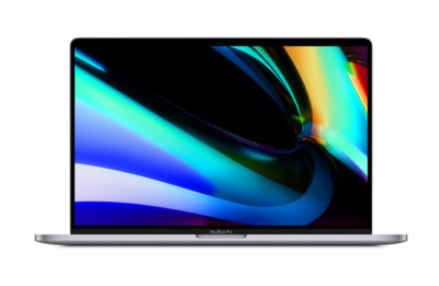 This is an image of a 16 inch space gray macbook pro by Apple.