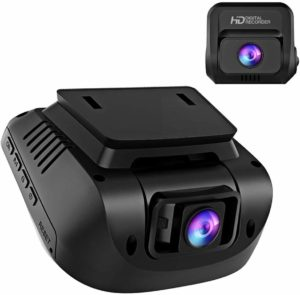 This is an image of Black 1080P FHD Front and Rear Dual Lens Dash Cam