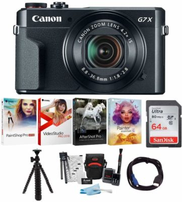 This is an image of a Canon PowerShot G7X digital camera bundle kit.