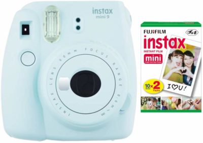 This is an image of an ice blue Instax Mini 9 camera by Fujifilm.