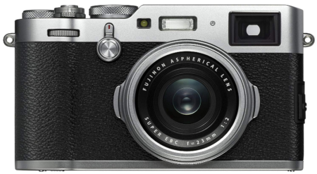 This is an image of camera by fujifilm in black and gray colors