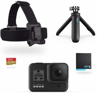 This is an image of a black GoPro HERO8 camera set.