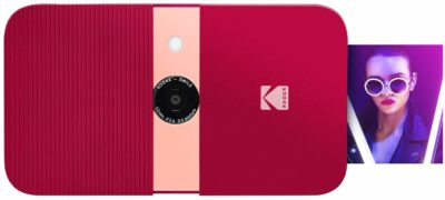 This is an image of a red Instant digital camera by Kodak.