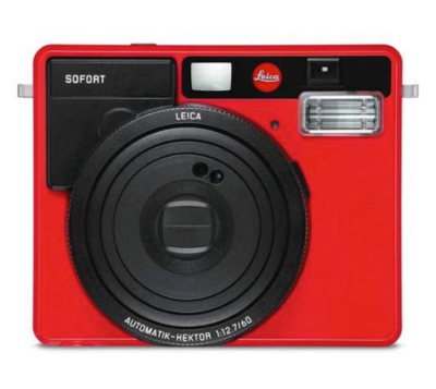 This is an image of a red Sofort instant camera by Leica.