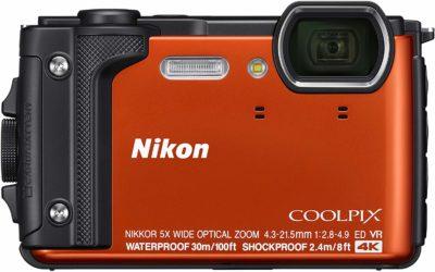 This is an image of an orange waterproof W300 Nikon camera.