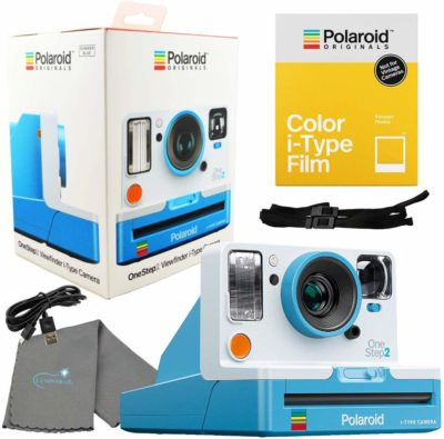 This is an image of a summer blue OneStep 2 Viewfinder i-Type bundle kit by Polaroid.