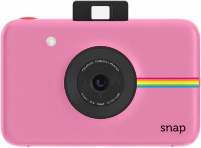 This is an image of a pink Snap digital instant camera by Polaroid.