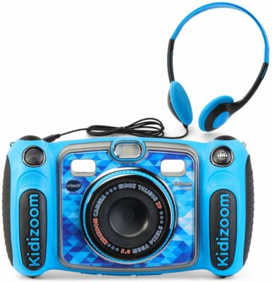 This is an image of a blue Kidizoom Duo camera for kids by VTech.