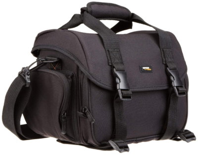 This is an image of AmazonBasic Large Gadget Bag In black color