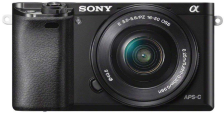 This is an image of Sony Alpha a6000 Mirrorless Digital Camera in black color