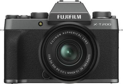 This is an image of Fujifilm X-T200 Mirrorless Digital Camera w/XC15-45mm Kit - Dark Silver