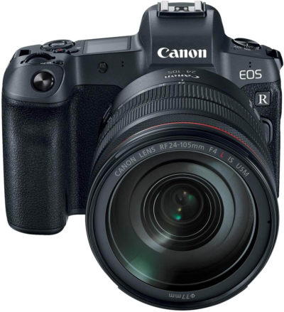 This is an image of a black Canon EOS R camera with 24-105mm canon lens and 30.3 MP CMOS full-frame sensor