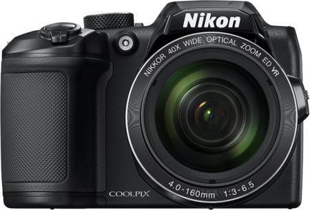 This is an image of a black Nikon Coolpix B500 digital camera with 16megapixel sensor and 80x dynamic zoom