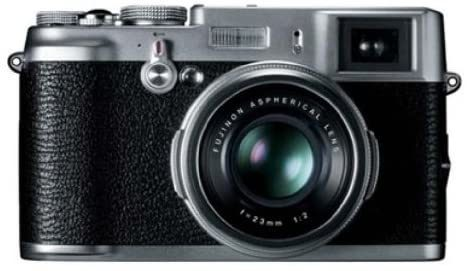 This is an image of a black and silver Fujifilm X100 digital camera with 12.3 MP sensor and 23mm Fujinon Lens and 2.8-Inch LCD