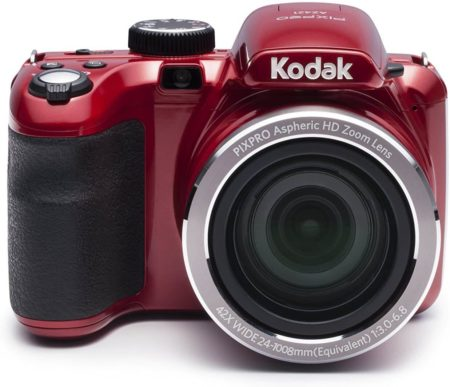 This is an image of a red Kodak Pixpro digital camera with 24mm wide-angle lens, 42x optical zoom and 16.1MP CCD sensor
