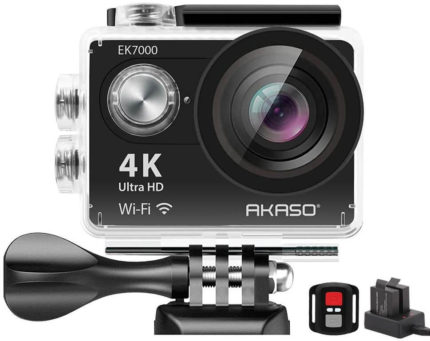 This is an image of a black AKASO EK7000 4K WiFi Sports Action Camera with 12MP sensor and 170 Degree Wide Angle zoom with stand and battery