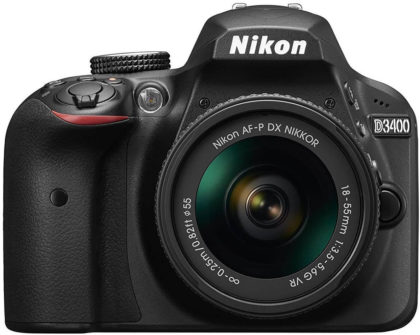This is an image of a black Nikon D3400 camera with NIKKOR 18-55mm lens and 24.2 megapixel sensor