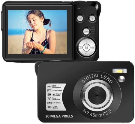 This is an image of a black Seree Digital Camera with 2.7 Inch LCD, 30 Mega Pixels sensor and 8X Zoom