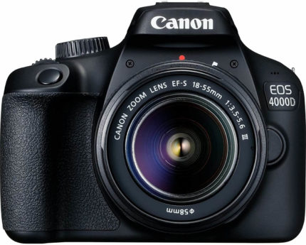 This is an image of a black Canon EOS 4000D digital camera with 18 megapixels sensor and 18-55 zoom lens