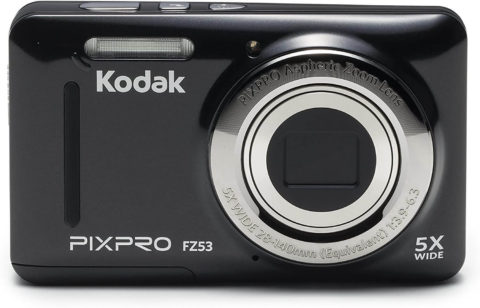 This is an image of a black Kodak Pixpro FZ53 digital camera with 2.7 inch LCD, 5x optical zoom and 16MP sensor