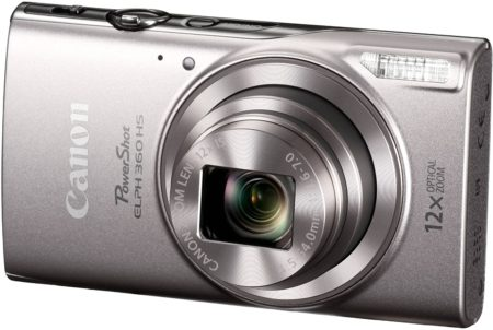 This is an image of a silver Canon PowerShot ELPH 360 with 12x zooming lens and 20.2 megapixel resolution