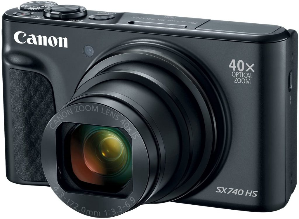 This is an image of a Canon PowerShot SX740 camera with 20.3 MP CMOS sensor and 40x optical zoom