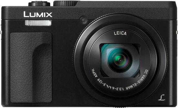 This is an image of a black Panasonic LUMIX DC-ZS70K digital camera with 20.3 megapixel mos sensor and 30x leica lens