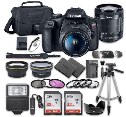 This is an image of a blackCanon EOS Rebel T7 DSLR Camera Bundle with Canon 18-55mm Lens + 2pc SanDisk 32GB Memory Cards + case and Accessory Kit