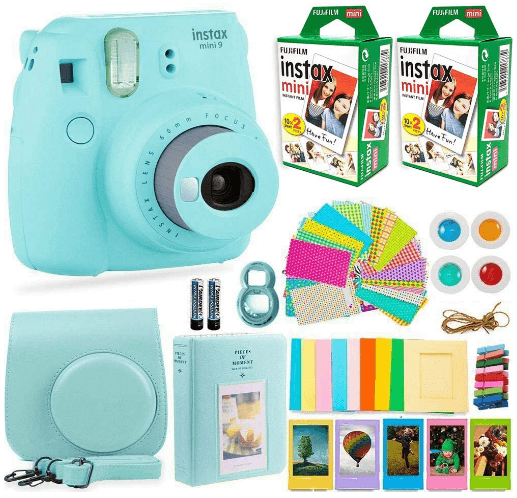 This is an image of ablue FujiFilm Instax Mini 9 camera with 40 sheets of photo paper, a case and a photo album