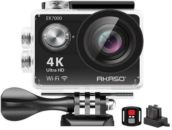 This is an image of a black AKASO EK7000 4K WiFi Action Camera with Remote control , 2 Batteries and Helmet Accessories Kit