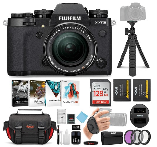 This is an image of a black Fujifilm X-T3 camera with stand, case, SD card and charger