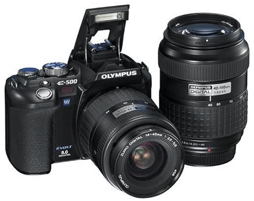 this is an image of a black Olympus Evolt E500 8MP Digital SLR with 14-45mm and 40-150mm Zuiko Lenses