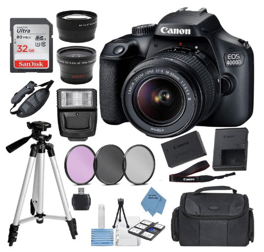 this is an image of a black Canon EOS 4000D camera with satan, case , fash, sd card and charger