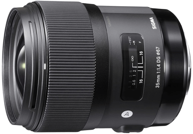 This is an image of a black 35mm Sigma Art lens for Nikon DSLR Cameras