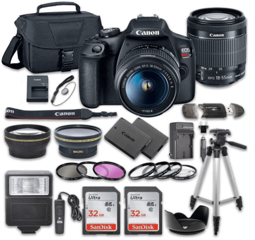this is an image of a black Canon EOS Rebel T7 DSLR Camera Bundle and 18-55mm Lens + 2pc SanDisk 32GB Memory Cards