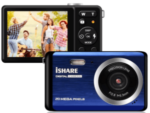 """This is an image of a blue Compact Digital Camera by KISDCAM with 20MP, a 2.8"""" LCD and 8X Digital Zoom"""