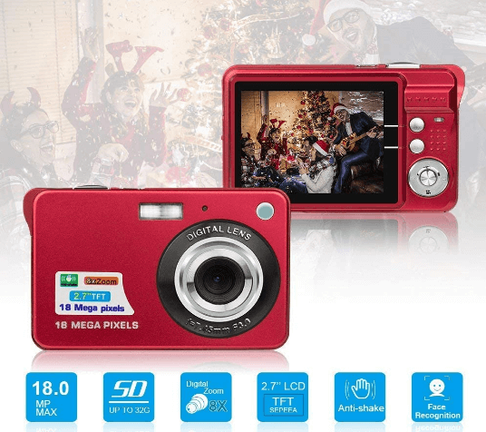 This is an image of a red HD Mini Digital Camera with 18MPsensor and 8x zoom