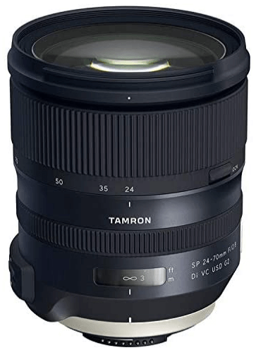 This is an image of black Tamron 24-70mm camera lens for nikon cameras