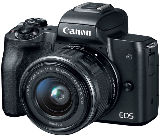This is an image of a black Canon EOS M50 Mirrorless Vlogging Camera Kit with 15-45mm Lens and 24.1-megapixel (APS-C) sensor