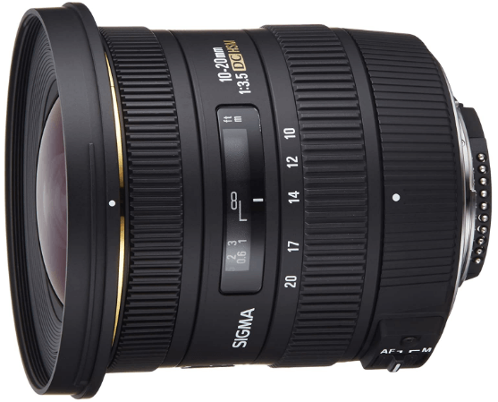 This is an image of black Sigma 10-20mm Wide Angle Lens for nikon cameras