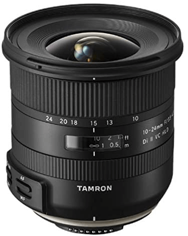 This is an image of black Tamron 10-24mm Wide Angle camera Lens for nikon cameras