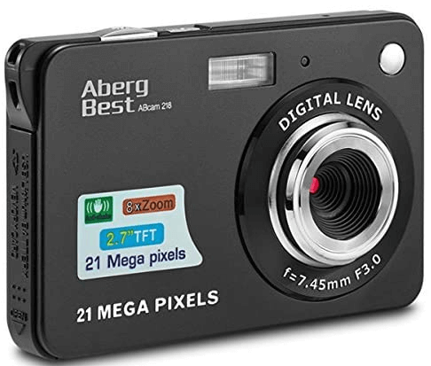 This is an image of a black AbergBest camera with 21 Mega Pixels sensor and 8x zoom