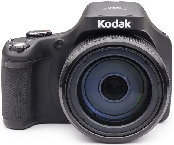 "This is an image of a black Kodak PIXPRO AZ90 Digital Camera with 90X Optical Zoom, 3"" LCD and 20MP sensor"