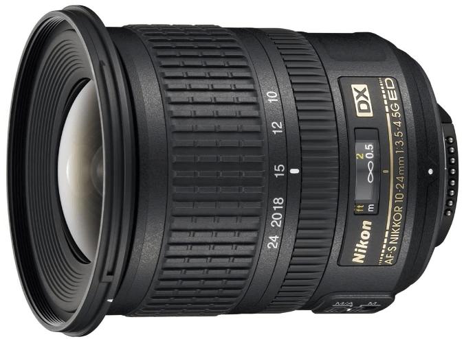This is an image of black Nikon AF-S DX Nikkor 10-24mm camera lens for nikon cameras